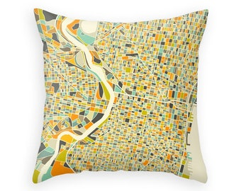 PHILADELPHIA MAP, Throw pillow for your home decor (ivory version)
