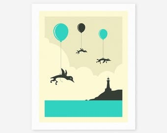 FLOCK OF PENGUINS (Giclée Fine Art Print, Photo Print or Poster Print) by Jazzberry Blue