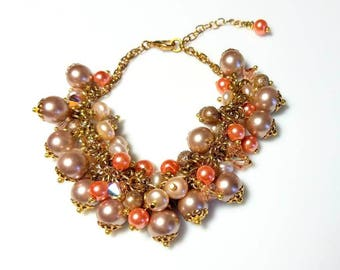 Multicolor Pearl Crystal Cluster Chunky Bracelet Unique Pink Taupe Tan Peach Jewelry Pretty Beaded Bracelet Gift for Her Bracelets for Women