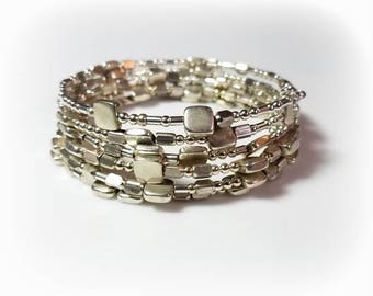Silver Beads Memory Wire Cuff Bracelet Multi Sized Silver Beaded Jewelry Adjustable Wrap Bracelet Everyday Stack Jewelry Gifts for Her