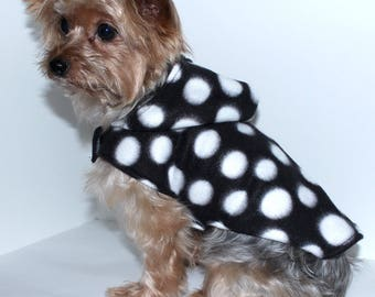 Polka Dot Dog Hoodie, XXS XS S M Black with White Polka Dots Fleece Dogs Jacket Sweater, Designer Fashion Dog Clothing