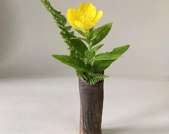 Handmade Ceramic Faux Bois Flower Bud Vase; Rustic, Wood Grain, Stoneware Pottery, Brown