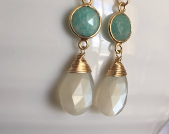 Moonstone, Amazonite and 14kt Gold Filled Earrings