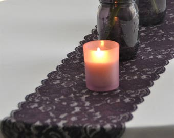 """Eggplant LACE Table runner  8""""wide 3Ft -16 Ft length/Custom Cut lace not hemmed/Free Sample swatch/wedding decor/Wedding Reception"""