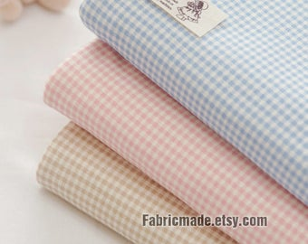 Plaid Cotton Knit, Plaid Check Jersey Knit, Stretchy Knit Fabric - Blue, Pink, Beige - 70 Inches Wide
