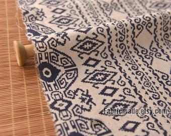 Ethnic Print Stripes Linen Fabric, Navy Blue Vintage Flower On Beige Linen Cotton Blended Fabrci-  1/2 yard
