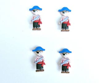 Set of 4 boys dressed as pirates shank buttons