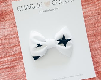 Baby/Girls Fabric Hair Bow, Black and White Hair Bow Clip, Halloween Hair Bow, Star Baby Hair Bow Headband or Hair Clip by charliecocos