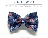 Rifler Paper Co Les Fleur Rosa Navy Big Bow- Wig Clip- Snap Clip- Nylon Headband