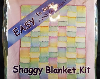 Shaggy Blanket Kit Pastel Colors -- Easy to Make