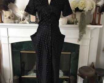 40s Butterfly Black Satin Print Dress
