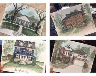 Custom Home Portrait // Watercolor