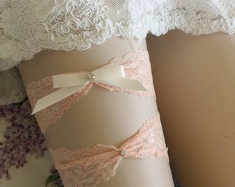 SALE Wedding Garter Set -Coral Garter Set on a  Lace Garter Style # GS0014