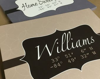 Personalized Housewarming gift, Coordinates, Custom Canvas, Longitude and Latitude, New Home