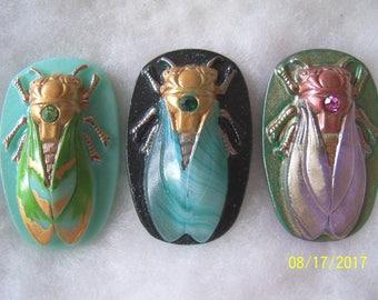 Czech Glass Buttons (3 PCS) Hand Painted SCARAB Cicada 40mm IVA 012
