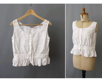 1970s René Derhy Sleeveless  indian Blouse/ Vintage indian camisole / 1970 hide corset top