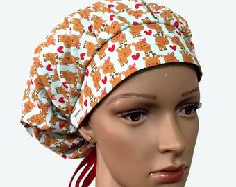 Bouffant Surgical Scrub Hat - Christmas Theme Scrub Hat - Cute Reindeers Bouffant Scrub Hat - Ponytail Scrub hat - Custom Scrub Hat