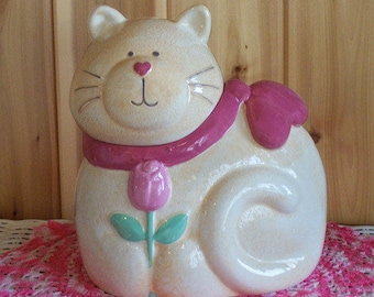 Darling Vintage Fat Cat Cookie Jar Treasure Craft - Susan Marie Porcelain USA