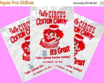 On Sale 100 Top Quality 12x18 inch Cotton Candy Bags with Ties, Fun Printed Gold Medal Printed Cotton Candy bags, Food safe plastic wholesal