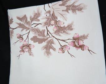 California Hand Prints Tablecloth - Oak Leaf Acorn Tablecloth - Beige Pink Tablecloth -  Glamper Glamping Decor - Free Shipping - 6MTT17