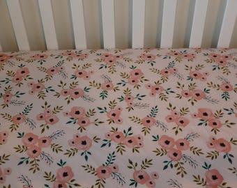 Pink/Coral Poseys Crib Sheet