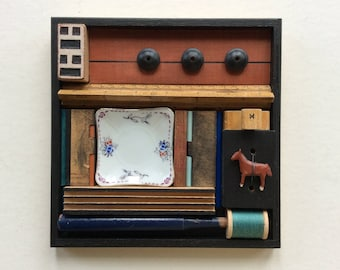 "Original Assemblage/ Collage, 7.5"" x 7.5"", Wood, Horse"