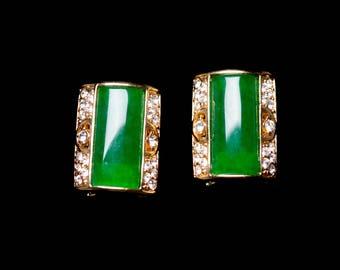 Emerald Green Glass Cabochon & Rhinestone Omega Back Earrings Gold tone