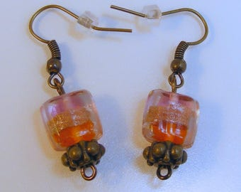 Orange Package Antique Brass Earrings