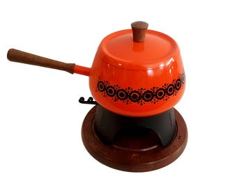 Vintage Orange Fondue Pot Set / Wood Handle and Base / Black Silhouette Pattern / Stand & Chafing Dish