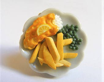 Food Jewelry, Fish and Chips Ring, Miniature Food Ring, Mini Food Ring, Fish and Fries Ring, Fish And Chips Jewelry, Fish and Fries Jewelry