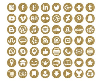 Gold Glitter Social Media Icons Set | Transparent Round Circle Avatar Buttons Blog Website | Digital Icons | Personal or Commercial Use