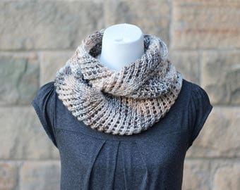 KNITTING PATTERN for women, scarf pattern - Coffee ripple lace infinity scarf snood cowl- Listing24