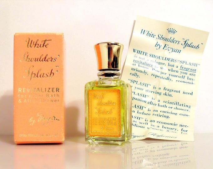 Vintage 1950s White Shoulders by Evyan 0.5 oz Mini Miniature After Bath Revitalizer Cologne Splash and Box PERFUME