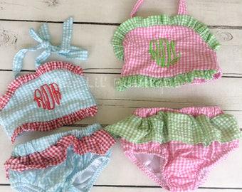 Monogrammed Seersucker Bathing Suit - Bathing Suit - Baby - Toddler - Bikini - Seersucker Bathing Suit - Two Piece Bathing Suit - Kids