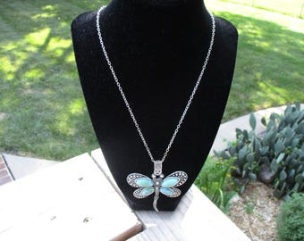 Dragonfly necklace, Turquoise look necklace, Women's dragonfly necklace, Anniversary gift for her, Handmade jewelry for women