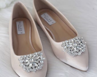 Women Wedding Shoes, Bridesmaid Shoes - CHAMPAGNE Satin Pointy toe flats with oversized rhinestones brooch