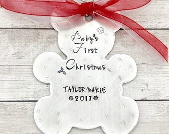 Baby First Christmas Ornament Personalized - Baby Christmas Ornament - Bear Christmas Ornament - Personalized Ornament Hand Stamped
