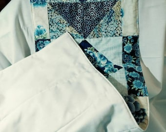 Quilted Table Runner in Blue Tone