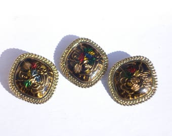 Gold and Black Enamel Brooch and Earrings - Vintage 1980s  Oversized Runway Jewellery Pin and Clip Ons