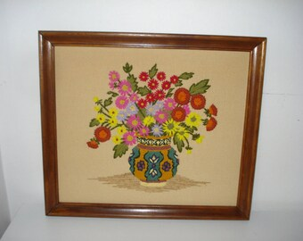 Vintage Bright Flowers Picture - Framed Wool - 69s Decor  -1960s