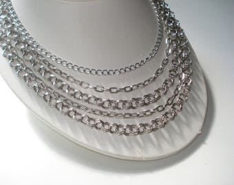 Vintage Necklace Multi Layered Graduated Silver Necklace Retro Jewelry 1960s