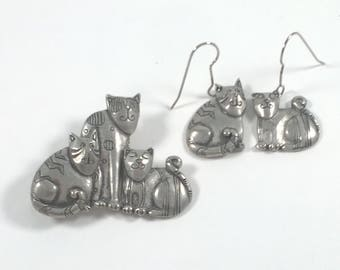 Pewter Cat Brooch and Earrings - Jewellery Set  - Vintage Fashion Jewelry