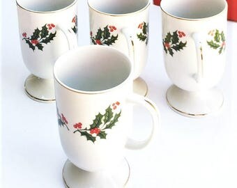 Vintage Christmas Holly Mugs, porcelain pedestal cups, made in Japan, holiday coffee mugs, eggnog cups
