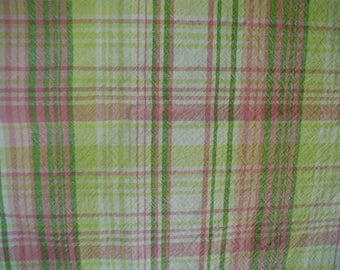 """Vintage Tablecloth, Cotton Plaid, Pink, Green and  White,  100% Cotton, 50 x 66"""", Summer Picnic Tablecloth"""