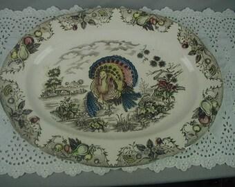 Vintage Turkey Platter, Brown Transferware, 1950's-1960's, Mid-Century Thanksgiving Platter, Large Oval Platter