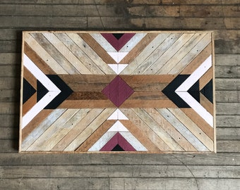 "Reclaimed Lath Wood Wall Decor 34"" x 22"""