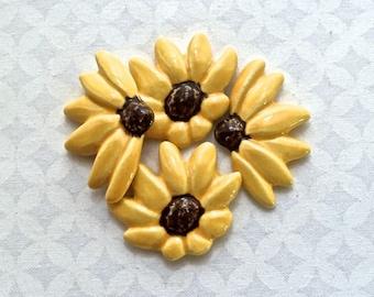 4 Gold Brown Eyed Susans - Ceramic Tiles - Mosaic Supplies