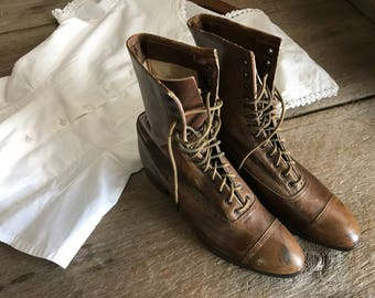 Antique Leather Girls Boots, Chestnut Brown, High Laced Ankle Boots