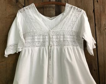 French Lace Chemise Nightgown, White Nightdress, French Farmhouse