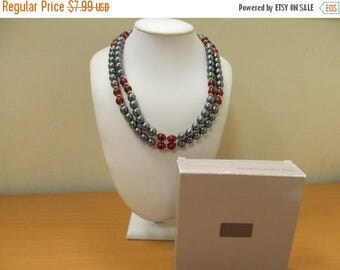 ON SALE AVON Caviar Collection Grey and Red Plastic Beaded Necklace Item K # 1824